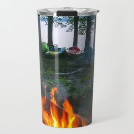 Campfire and Kayaks on Lake Pemaquid in Damariscotta, Maine Travel Mug