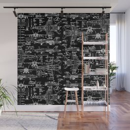F-18 Blueprints // Black Wall Mural