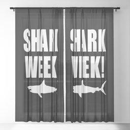Shark week (on black) Sheer Curtain