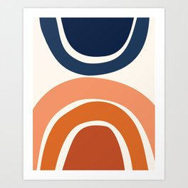 Abstract Shapes 9 in Burnt Orange and Navy Blue Art Print