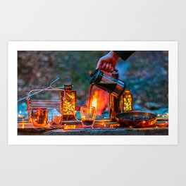 Pouring Coffee by the Campfire Art Print