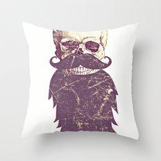 Beard Skull 3 Throw Pillow