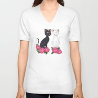 anime V-neck T-shirts featuring Anime Cats by MyimagesArt