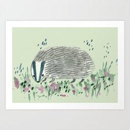 Badger in Grass Art Print