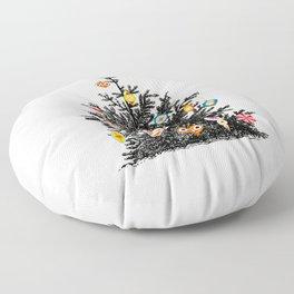 Retro Decorated Christmas Tree Floor Pillow