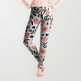 Floral Pattern Dark Gray and Light Coral Leggings
