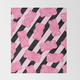 Jelly Beans & Gummy Bears Pattern - Pink and Black Throw Blanket