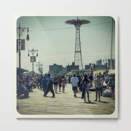 Hot Afternoon at Coney Island Metal Print
