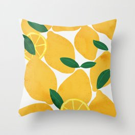 lemon mediterranean still life Throw Pillow