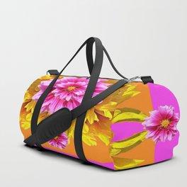 FUCHSIA PINK DAHLIAS & YELLOW SUNFLOWERS GARDEN ART Duffle Bag