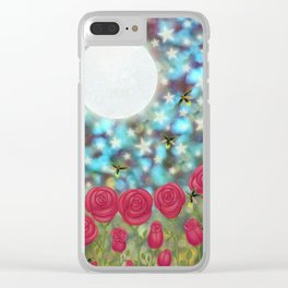 the moon, stars, fireflies, & roses Clear iPhone Case
