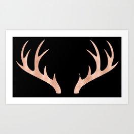 Antlers Rose Gold Deer Antlers Art Print
