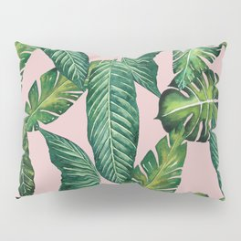 Jungle Leaves, Banana, Monstera II Pink #society6 Pillow Sham