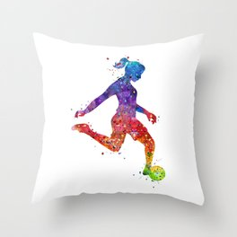 Girl Soccer Player Watercolor Art Colorful Sports Gift Throw Pillow