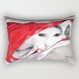 chat sort du sac- cat in a bag  Rectangular Pillow