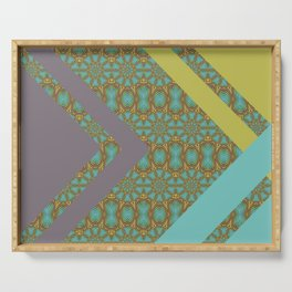 Patterned Retro Chevron Serving Tray