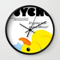 psycho Wall Clocks featuring Psycho by Chá de Polpa