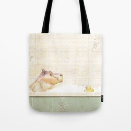 Hippo in the bath Tote Bag