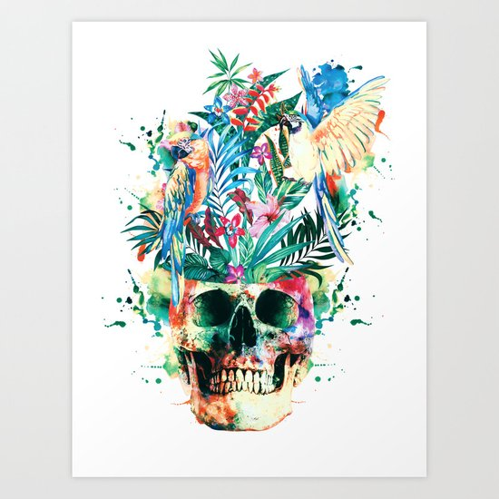 Skull - Parrots Art Print