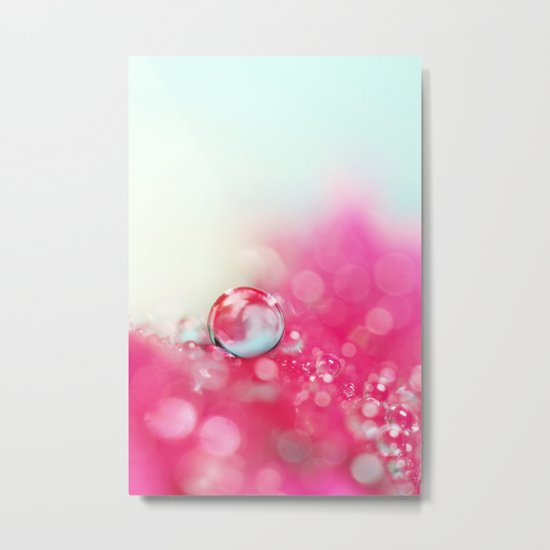 A Drop with Raspberrys and Cream Metal Print