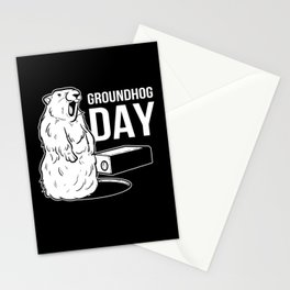 Cute Groundhog Day February 2 Woodchuck Shadow Stationery Cards