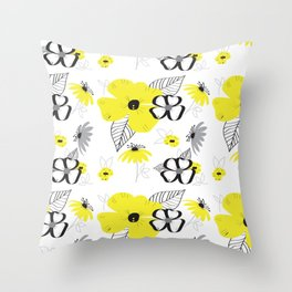 Yellow and Black Drawn Flowers Throw Pillow
