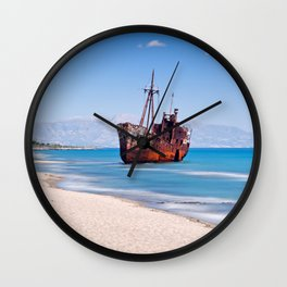 Shipwreck near to Gytheio in Laconia, Greece Wall Clock