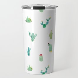 Summer pattern with cacti and yellow cats ! Travel Mug