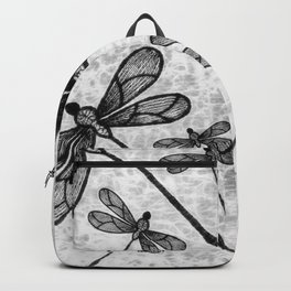 Bold black and white embroidered dragonflies on texture Backpack