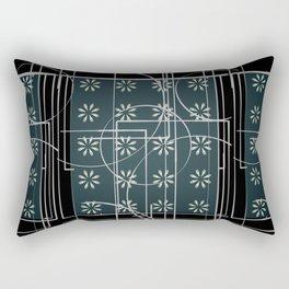 Black Green Grey Digital Daisy Abstract Rectangular Pillow