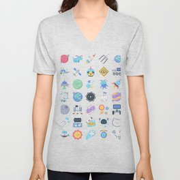 CUTE OUTER SPACE / SCIENCE / GALAXY PATTERN Unisex V-Neck