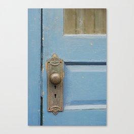 Blue Door with knob Canvas Print