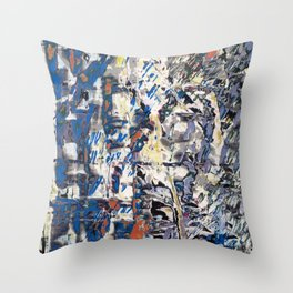 Inclement Weather (Gray and Blue Abstract Marks) Throw Pillow