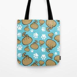 Dumpling Cat blue pattern Tote Bag
