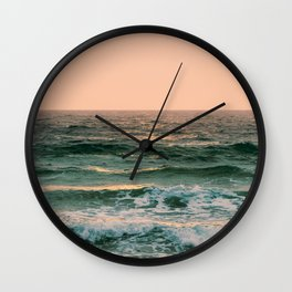 Pink Skies Ocean Vibes Wall Clock