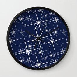 Indigo Navy Blue Starry Night Wall Clock