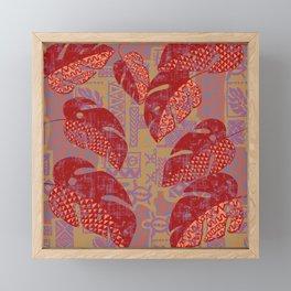Hawaiian Lava Leaves Tapa Print Framed Mini Art Print