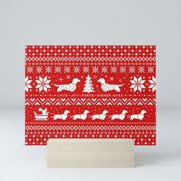 Dachshunds Christmas | Love Joy Peace Wiener Dogs Mini Art Print