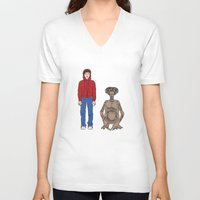 et V-neck T-shirts featuring ET - Elliot and ET by V.L4B