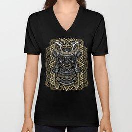 Samurai mask Unisex V-Neck