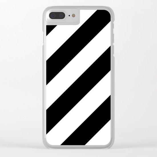 Black diagonal striped pattern Clear iPhone Case