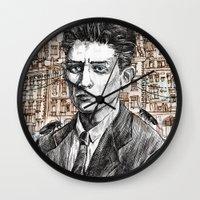 kafka Wall Clocks featuring Kafka by Nina Palumbo Illustration