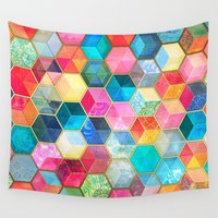 hippy Wall Tapestries featuring Crystal Bohemian Honeycomb Cubes - colorful hexagon pattern  by micklyn