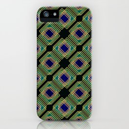 Gold Foil Boxes in Boxes Peacock Blue on Black iPhone Case
