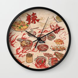 Famous Spicy Chinese Cuisine Wall Clock