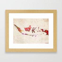 Indonesia map landscape Framed Art Print