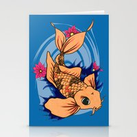 koi fish Stationery Cards featuring koi fish by Pinkspoisons