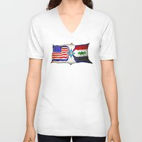 flag V-neck T-shirts featuring Flag by ℳajd