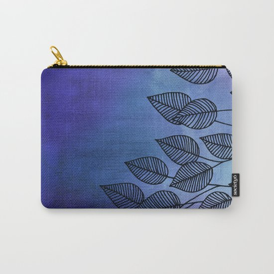 Midnight Blue Garden - watercolor & ink leaves Carry-All Pouch