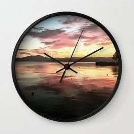 Sunset Reflected On Water Wall Clock